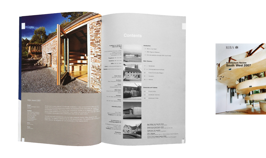 Front cover image of Wooda on the 2007 RIBA Architectural Review for the South West 2007